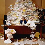 Paperwork piled